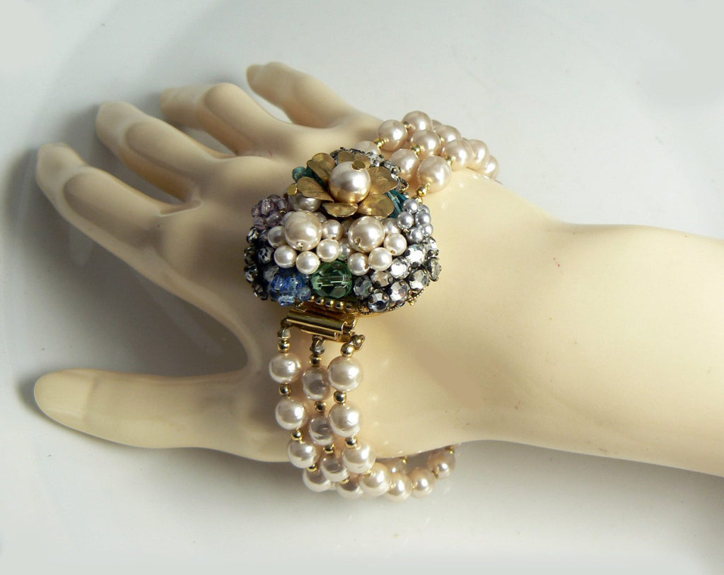 Vintage Original by Robert Glass Pearl, Glass Bead and Rhinestone 3 Strand Bracelet - Vintage Lane Jewelry