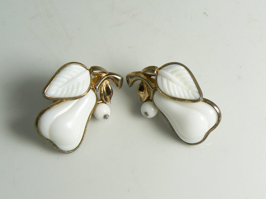 Vintage Crown Trifari Milk Glass Fruit Pear Clip Earrings - Vintage Lane Jewelry