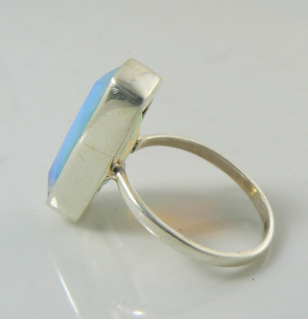 Genuine Fire Opalite 10 ct Sterling Silver Ring - Vintage Lane Jewelry