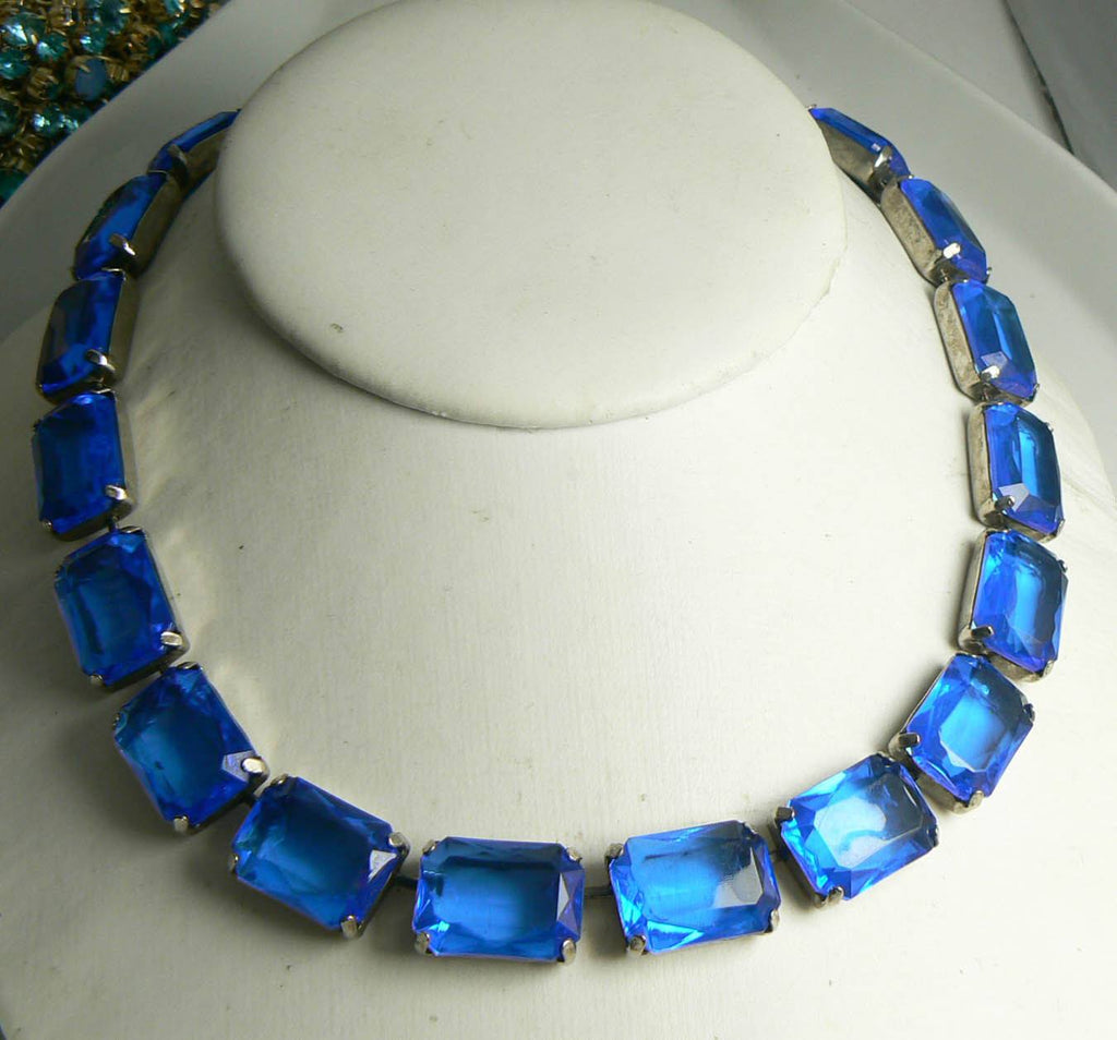 Vintage Sapphire Bright Blue Lucite Necklace - Vintage Lane Jewelry