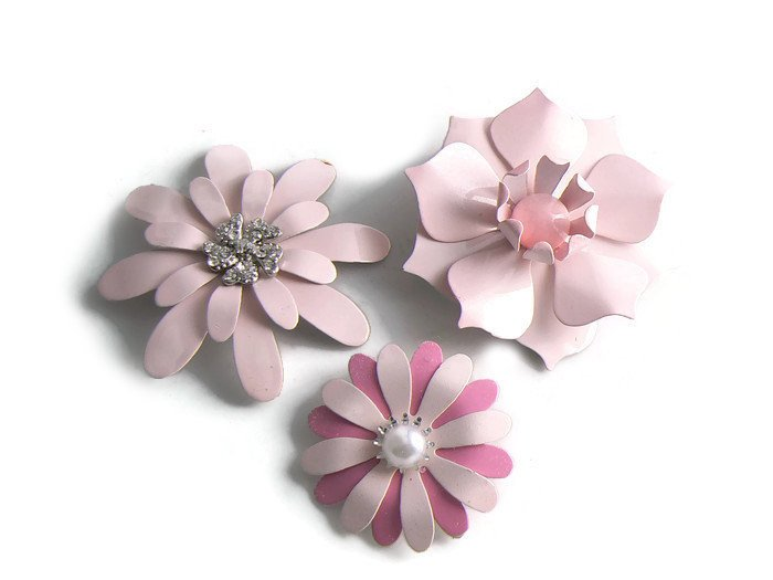 Enamel Flower Brooch Lot, 8 Flower Pins - Vintage Lane Jewelry