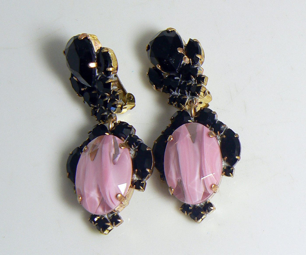 Black and Pink Givre Czech Glass Clip Earrings - Vintage Lane Jewelry