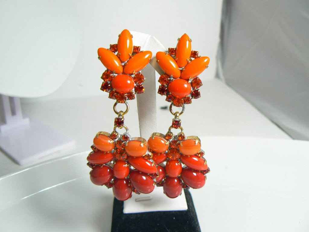 Czech Glass Orange and Fire Red Cabochon Rhinestone Clip Earrings - Vintage Lane Jewelry