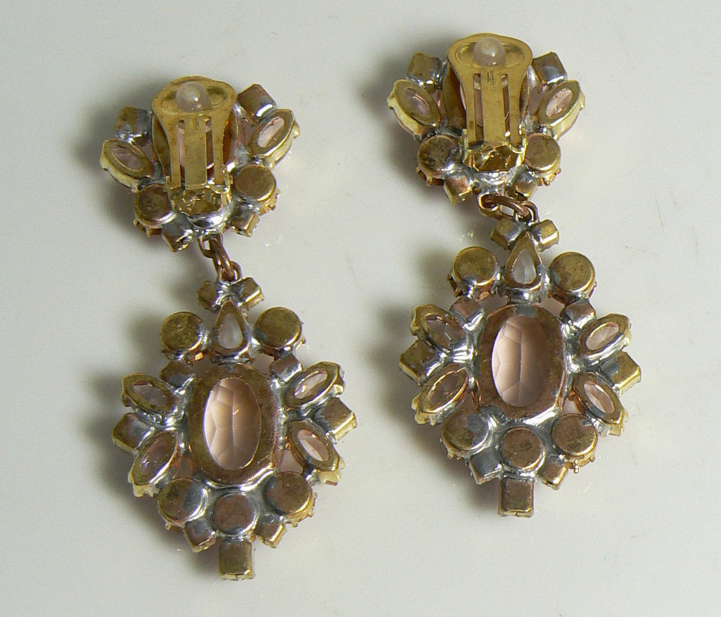 Czech Glass Clip Earrings, Shades of Pink, Rhinestone - Vintage Lane Jewelry