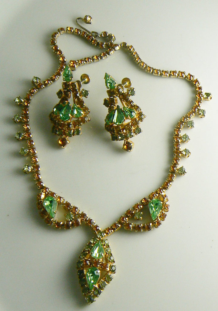 Vintage Topaz Peridot Green Rhinestone Necklace Earrings Set - Vintage Lane Jewelry