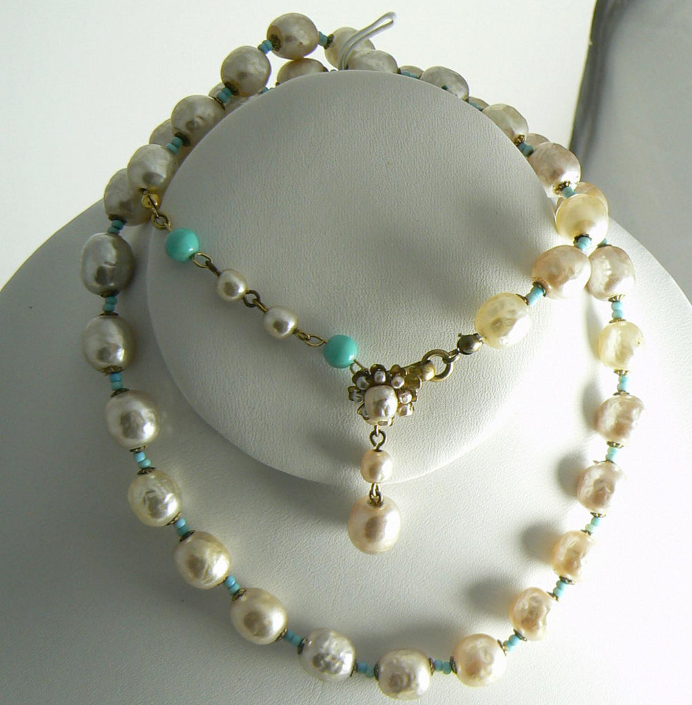 Baroque Glass Pearl and Aqua Glass Bead Miriam Haskell Necklace - Vintage Lane Jewelry
