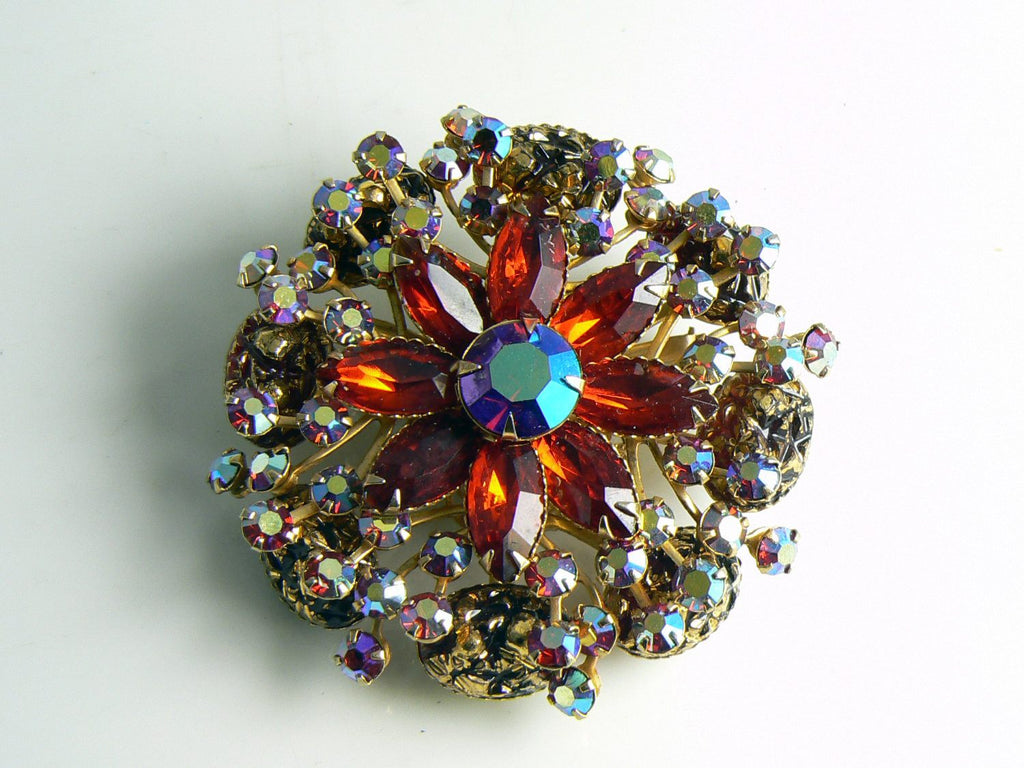 Judy Lee Vintage Red Borealis Rhinestone Brooch - Vintage Lane Jewelry