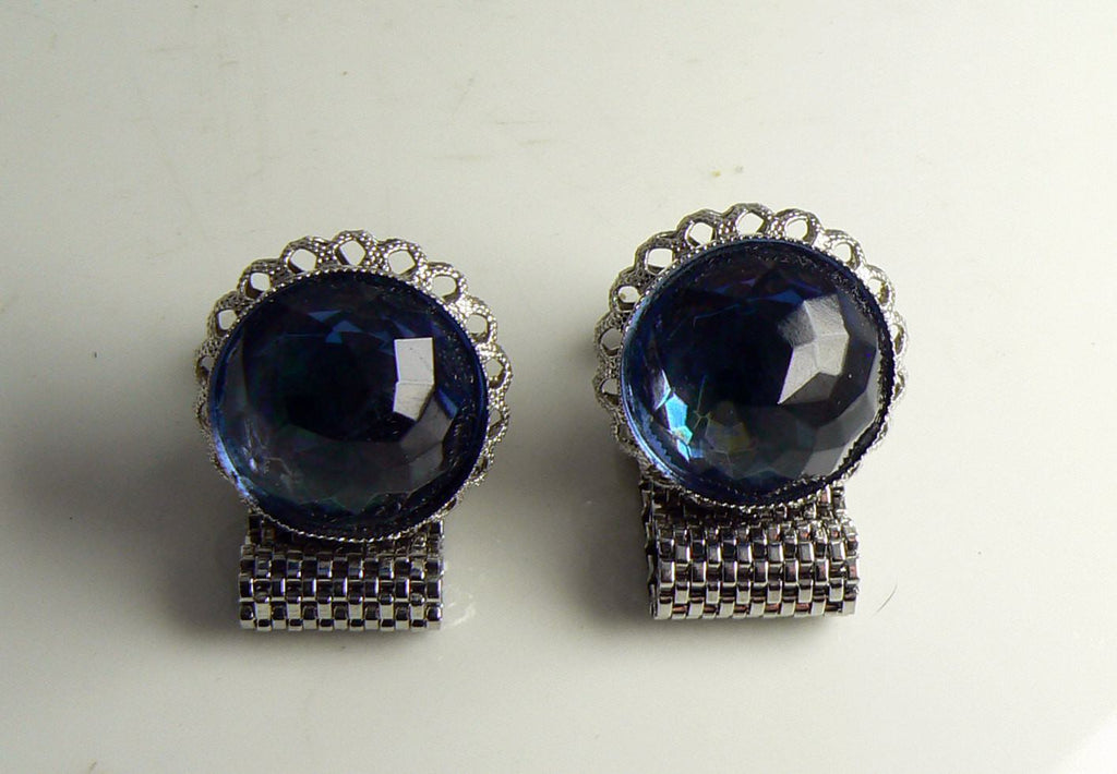 Vintage Blue Glass Silver Tone Wrap Around Cuff Links - Vintage Lane Jewelry