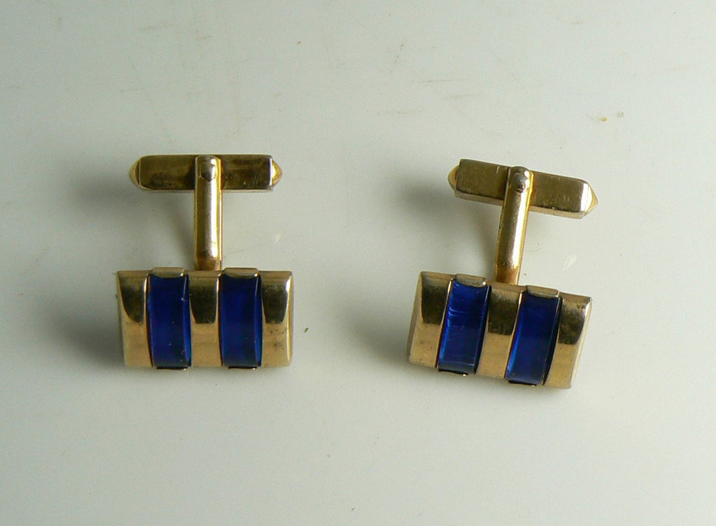 Swank Royal Blue Enamel Gold Tone Cufflinks, Men's Links, Accessories - Vintage Lane Jewelry