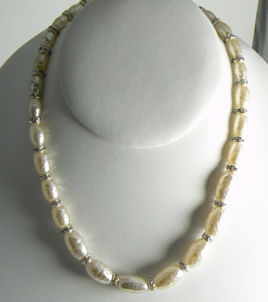 Signed Miriam Haskell Baroque Oblong Glass Pearl Rhinestone Rondelle Necklace - Vintage Lane Jewelry