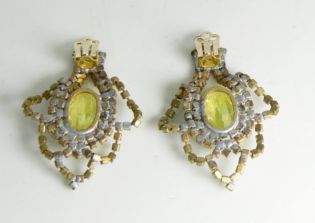 Czech glass Vaseline uranium Clip Earrings - Vintage Lane Jewelry