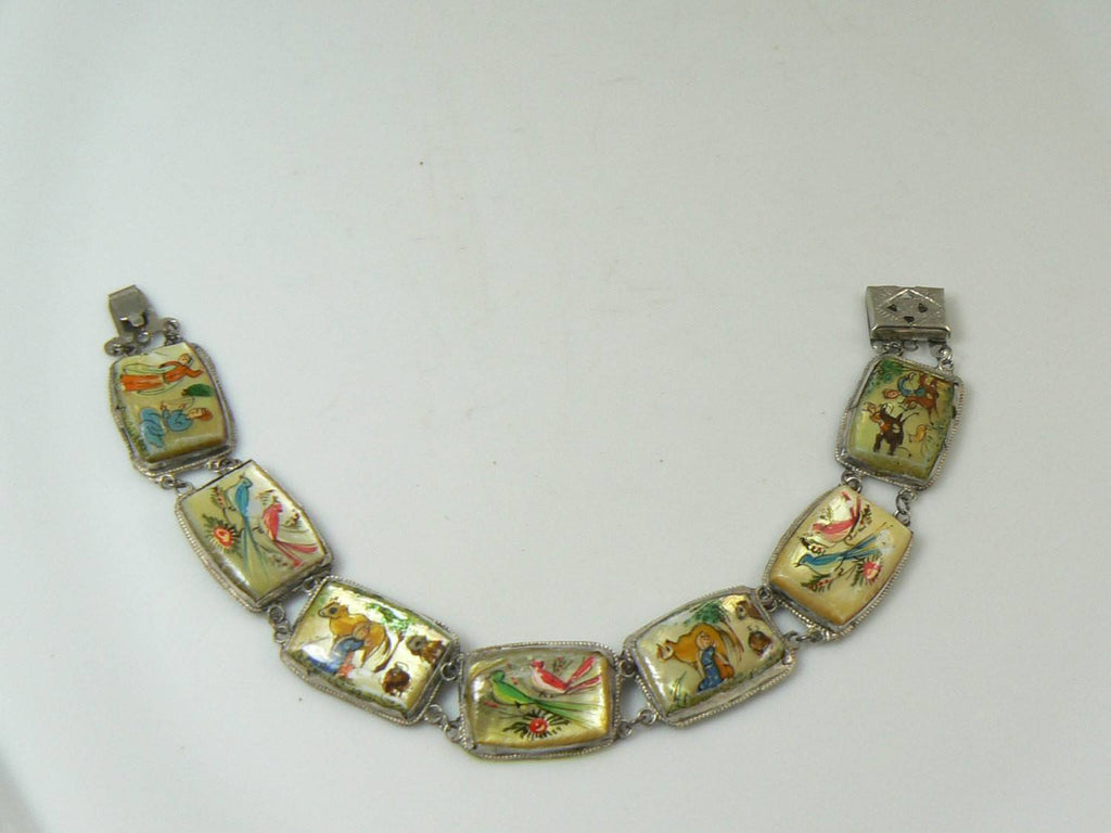 Antique Persian Storybook MOP Fine Silver Bracelet - Vintage Lane Jewelry