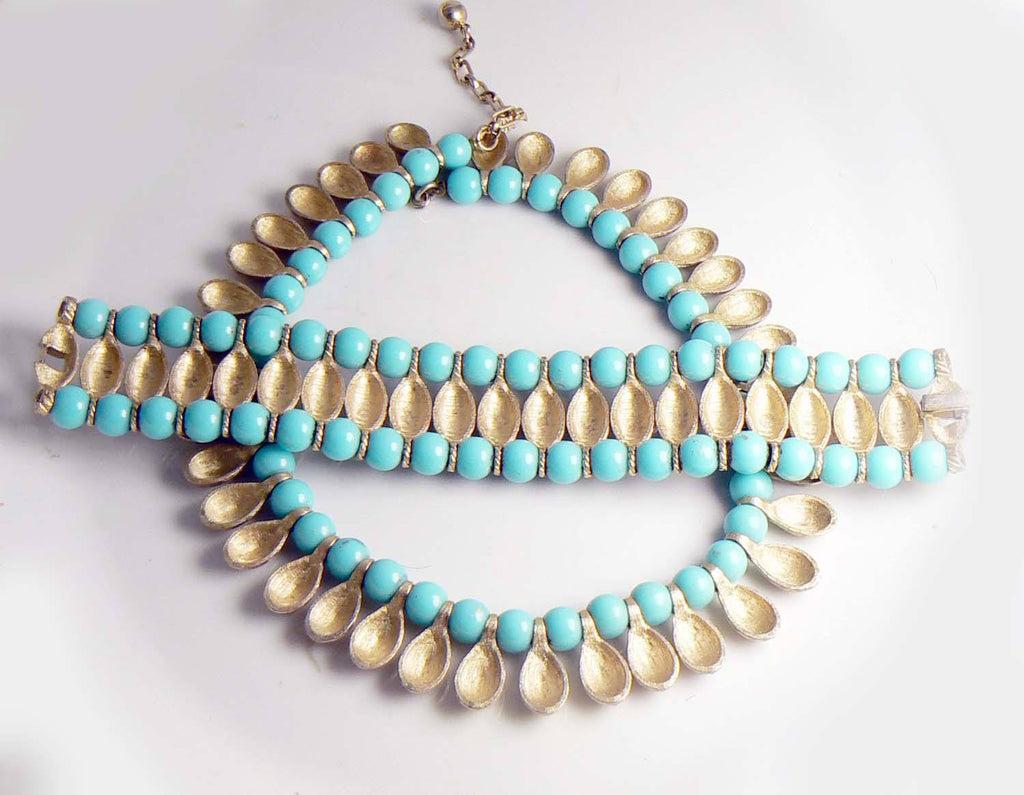 Crown Trifari Egyptian Revival Turquoise Bead and Brushed Gold Tone Metal Necklace Bracelet Set - Vintage Lane Jewelry