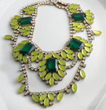 Husar D Czech Glass Jonquil Emerald Statement Necklace - Vintage Lane Jewelry