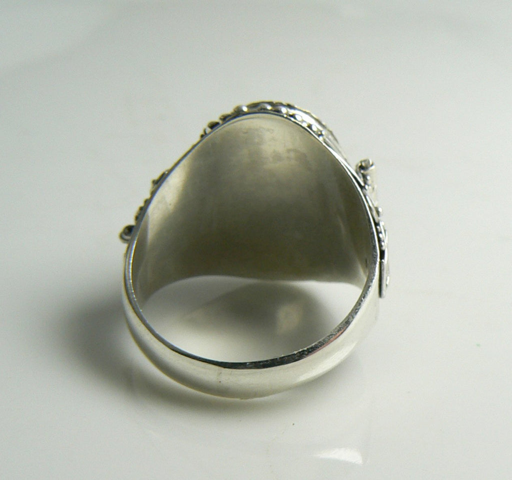 Sterling Silver Moonstone Poison Ring Renaissance Revival, Pill Box Ring - Vintage Lane Jewelry