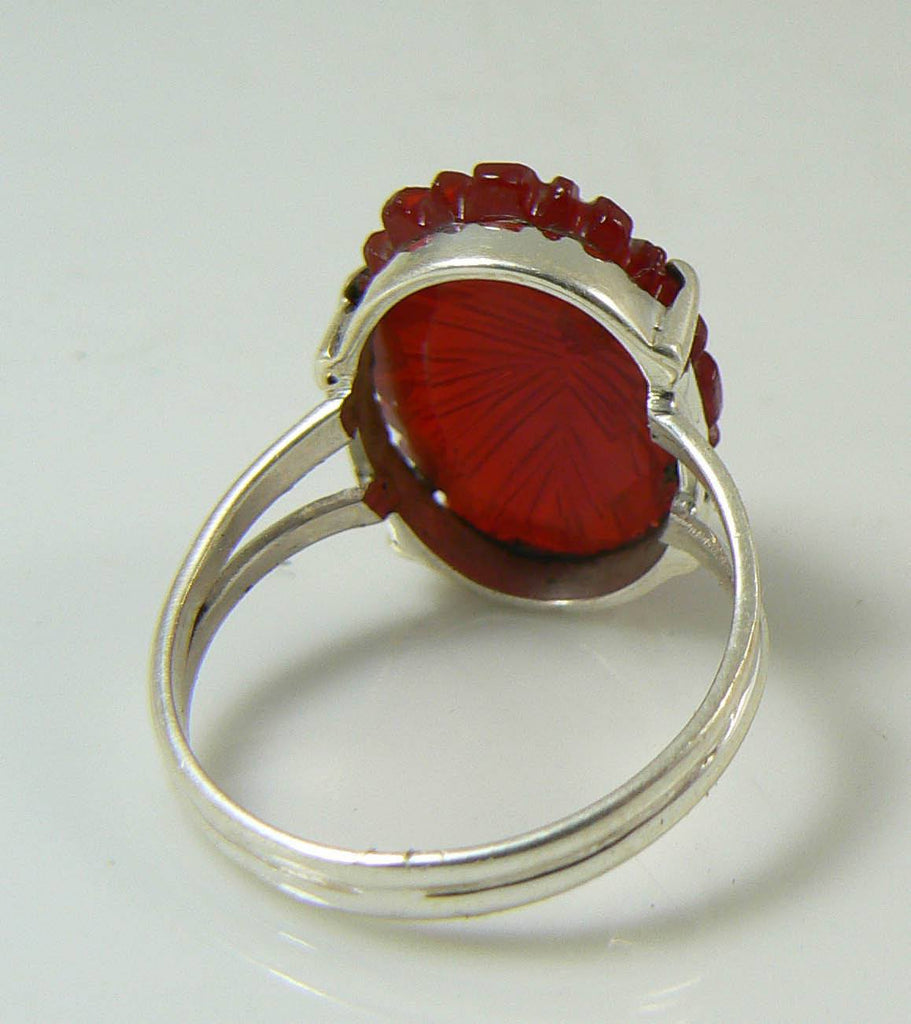 Hand Carved Garnet Sterling Silver Ring, Size 7.5 - Vintage Lane Jewelry