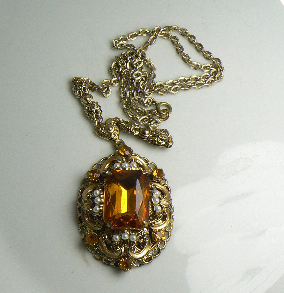 Vintage Signed W Germany Amber Glass Rhinestone Faux Pearl Pendant Necklace - Vintage Lane Jewelry