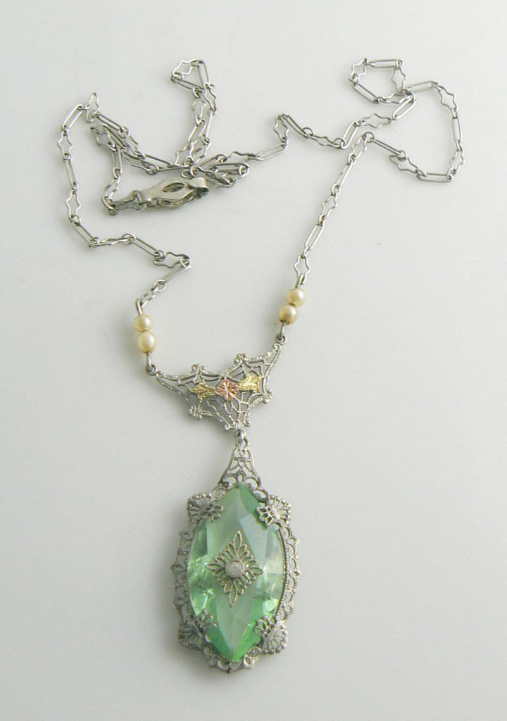 Vintage Green Camphor Glass Filigree Crystal Necklace, Paper clip chain - Vintage Lane Jewelry