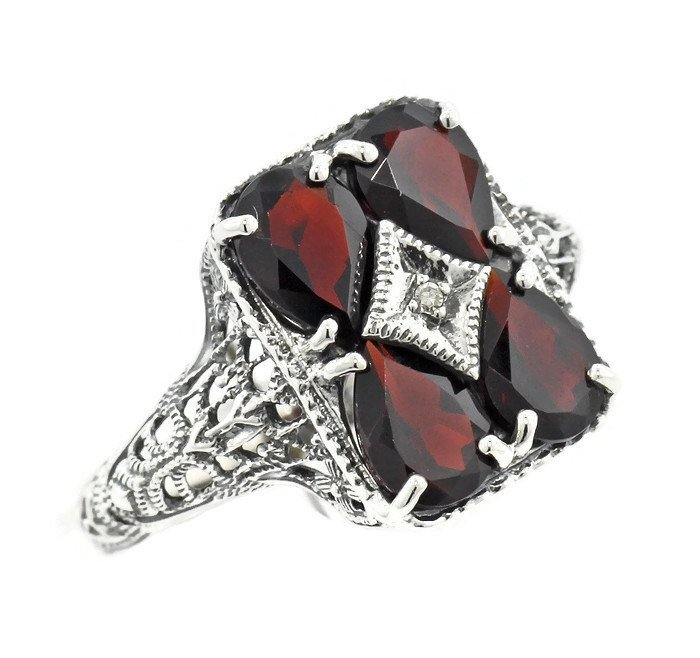 Art Deco Revival Garnet Filigree Diamond Sterling Silver Ring - Vintage Lane Jewelry