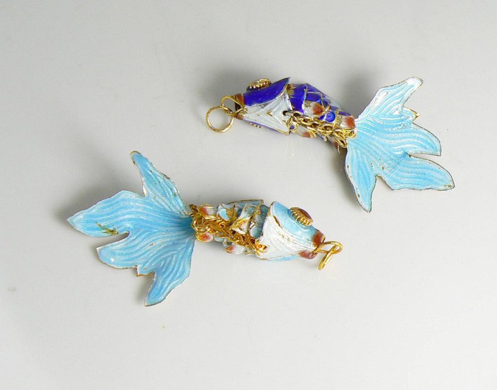 Vintage Articulating Enamel Koi Fish Pair Pendant, Aqua Blue and Royal Blue - Vintage Lane Jewelry