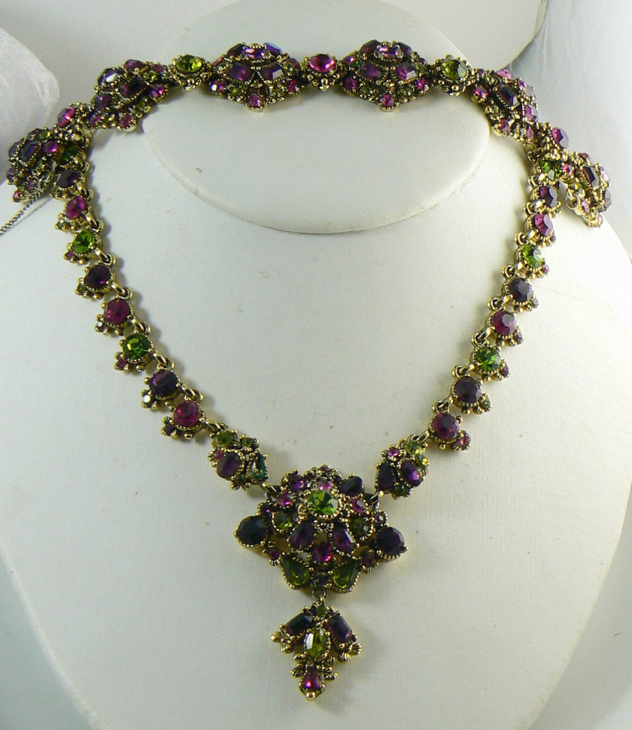 Hollycraft Purple and Green Rhinestone Necklace and Bracelet Set - Vintage Lane Jewelry