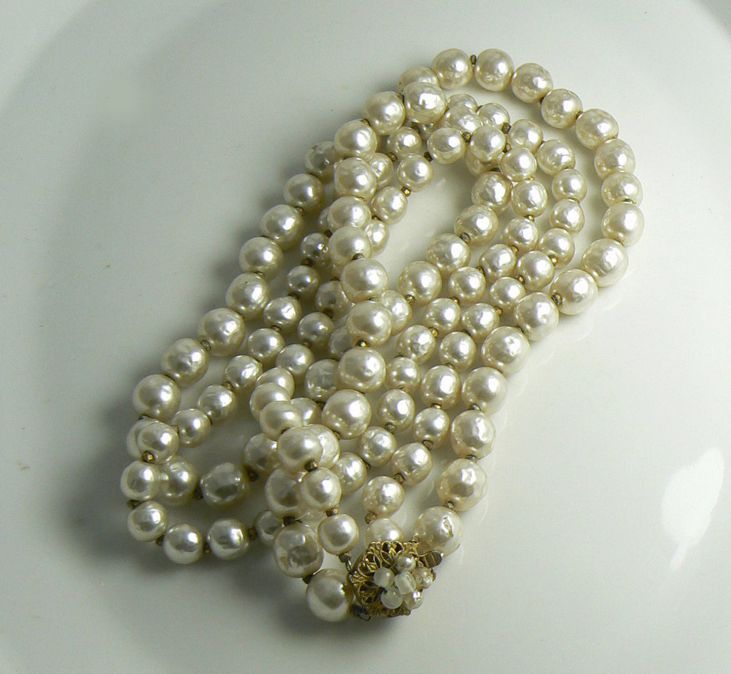 Miriam Haskell Double Strand Graduated Baroque Pearl Necklace - Vintage Lane Jewelry
