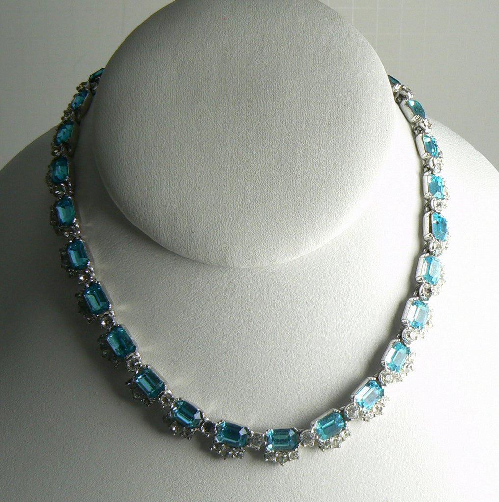 Signed Bogoff Sky Blue Emerald Cut Rhinestone Choker Necklace and Bracelet - Vintage Lane Jewelry
