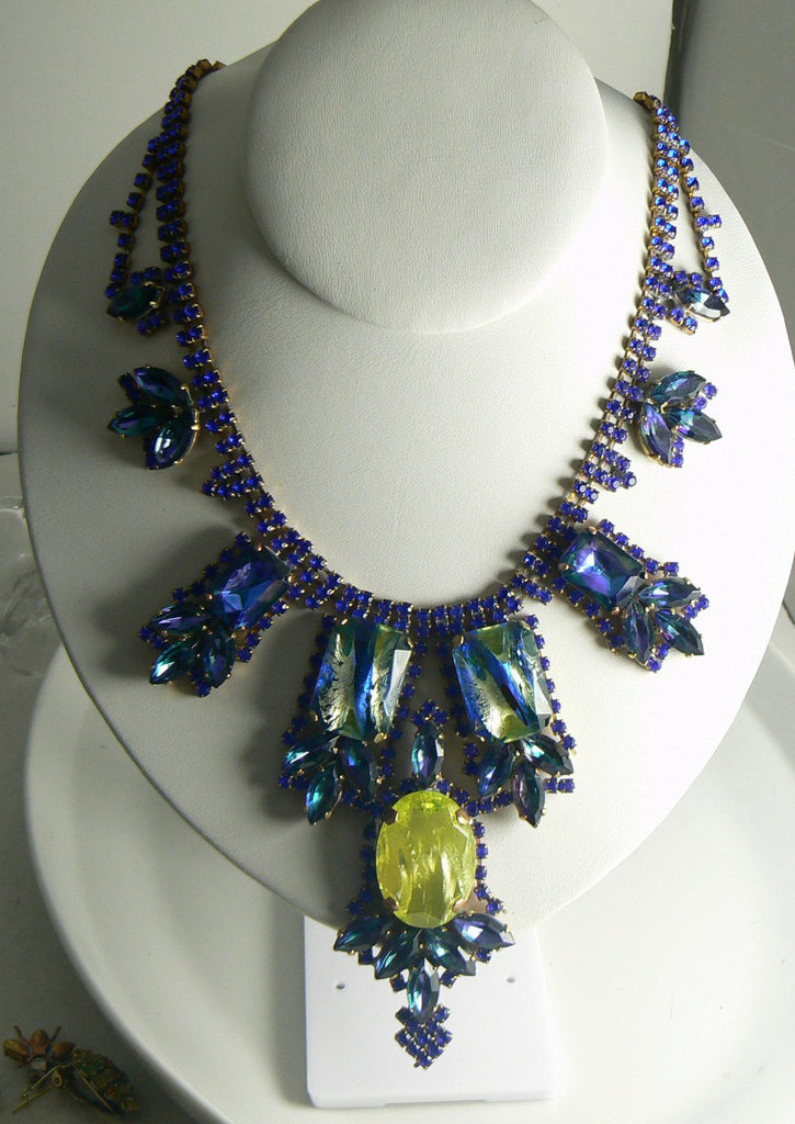 Czech Husar D Vaseline Uranium Glass Blue Dragons Eye Statement Necklace - Vintage Lane Jewelry