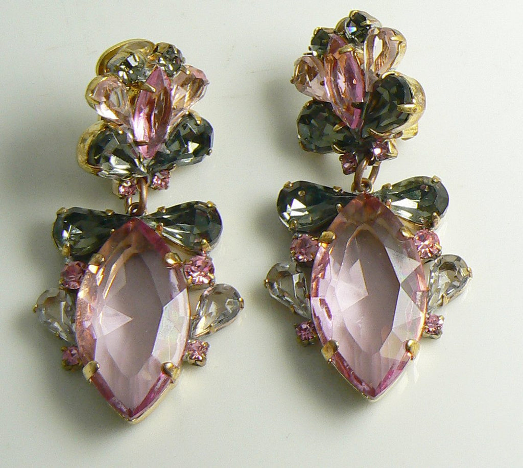 Czech Glass Pink Gray Bow Glass Clip Earrings - Vintage Lane Jewelry