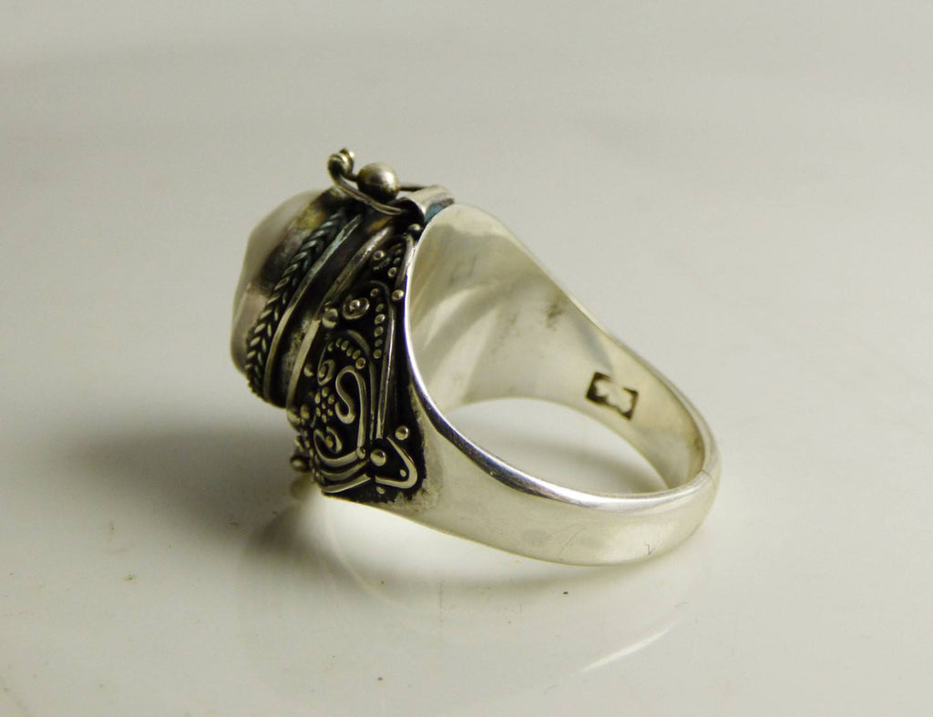 Balinese Carved Bone Face Sterling Silver Poison Ring - Vintage Lane Jewelry