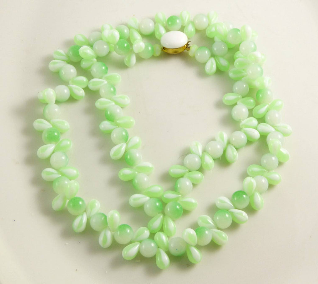 Czech Glass Vaseline Uranium Glass Bead Necklace - Vintage Lane Jewelry