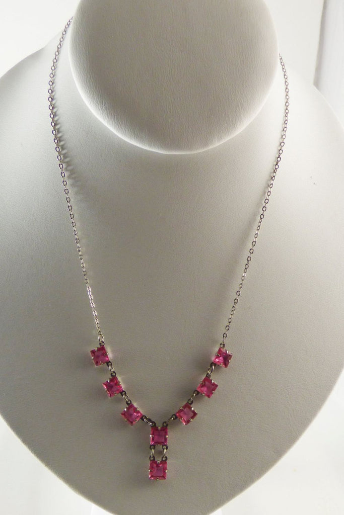 Deep Pink Art Deco Faceted Glass Necklace, Prong set, open back glass stones - Vintage Lane Jewelry