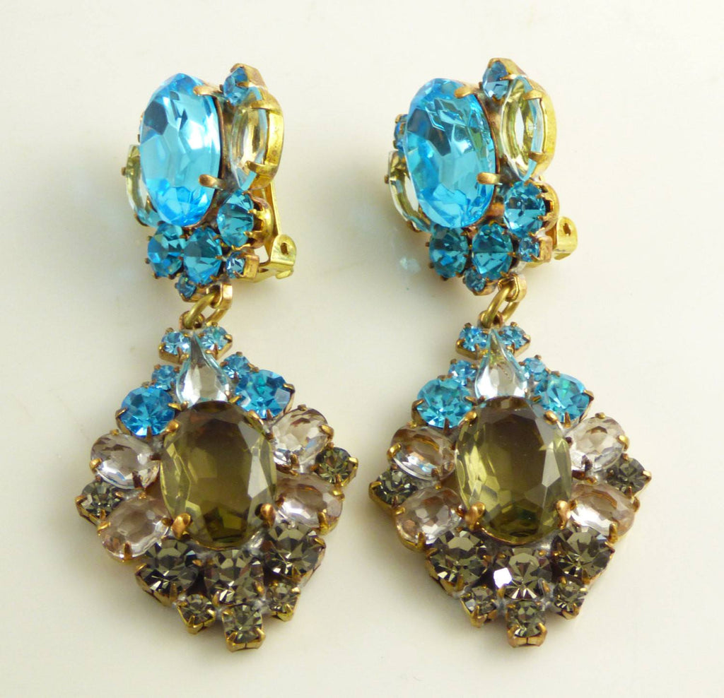 Blue and Gray Czech Glass Clip Earrings - Vintage Lane Jewelry