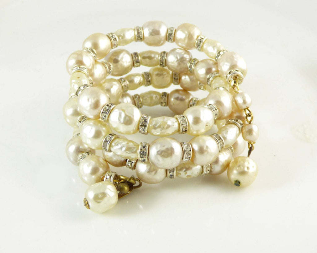 Miriam Haskell Baroque Pearl Rondelle Memory Coil Bracelet - Vintage Lane Jewelry