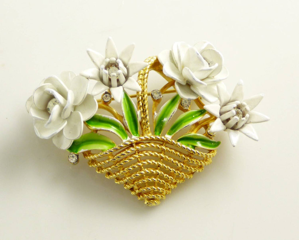 Vintage Crown Trifari Enamel Rhinestone Flower Basket Brooch - Vintage Lane Jewelry
