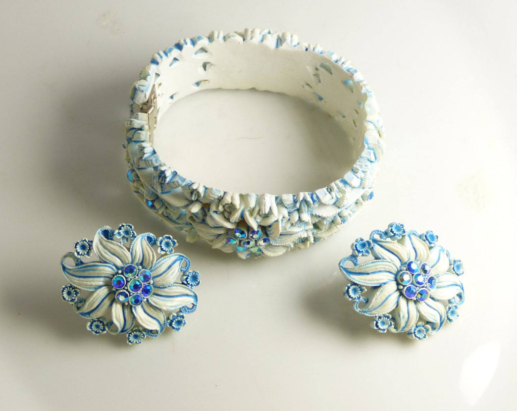 Celluloid Molded Blue Flower and Rhinestone Hinge Bracelet and Earring Set - Vintage Lane Jewelry