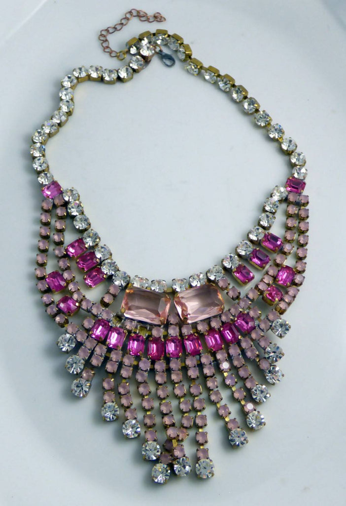 Czech Glass Rhinestone Pink Hot Pink Necklace - Vintage Lane Jewelry