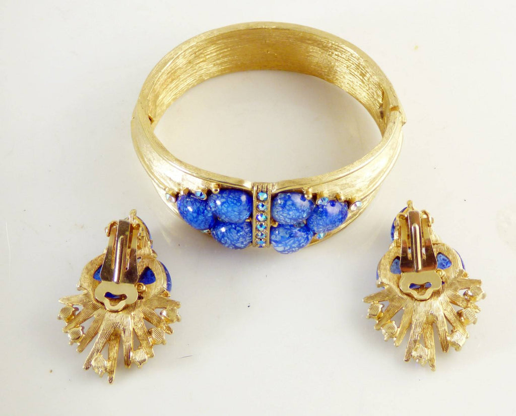 Vintage Charel Blue Confetti Rhinestone Bracelet and Clip Earring Set - Vintage Lane Jewelry