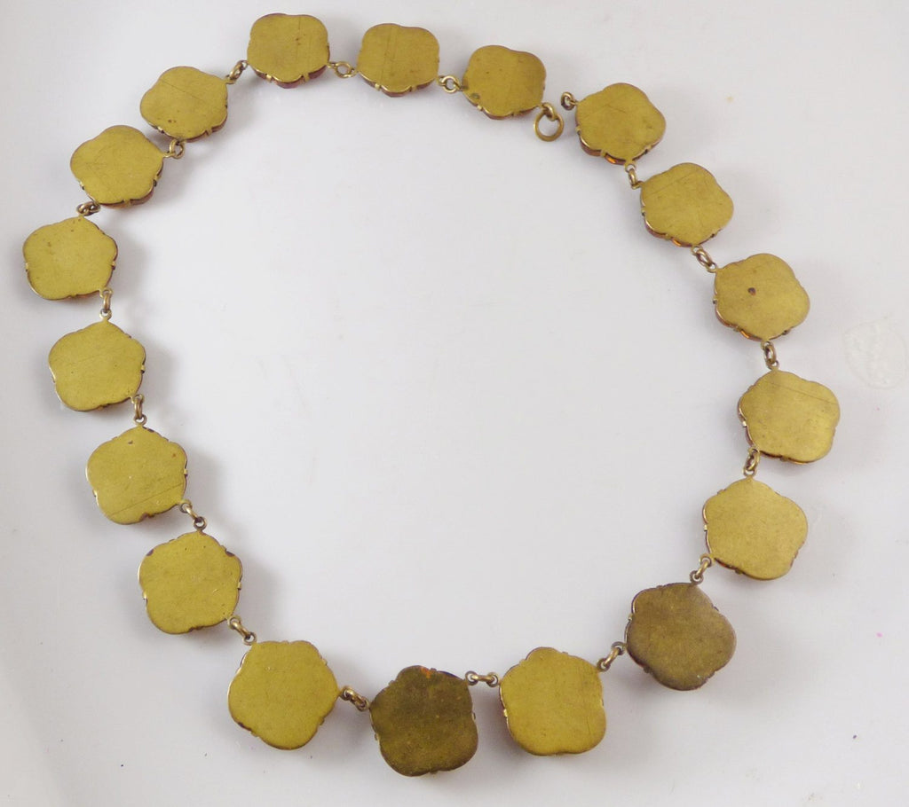 Vauxhall Antique Art Deco Floral Molded Amber Glass Choker Necklace - Vintage Lane Jewelry
