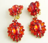 Czech Glass Ruby Red Clip Earrings - Vintage Lane Jewelry