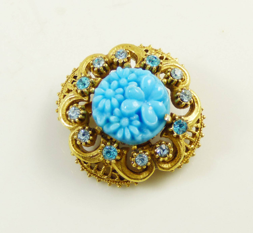 Florenza Blue Molded Floral Glass Rhinestone Brooch - Vintage Lane Jewelry