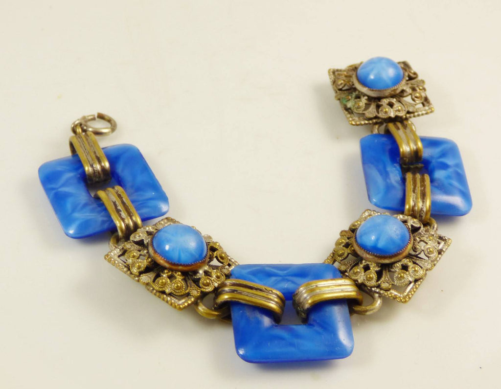 Czech Deco Nouveau Star Sapphire Glass Brass Bracelet - Vintage Lane Jewelry