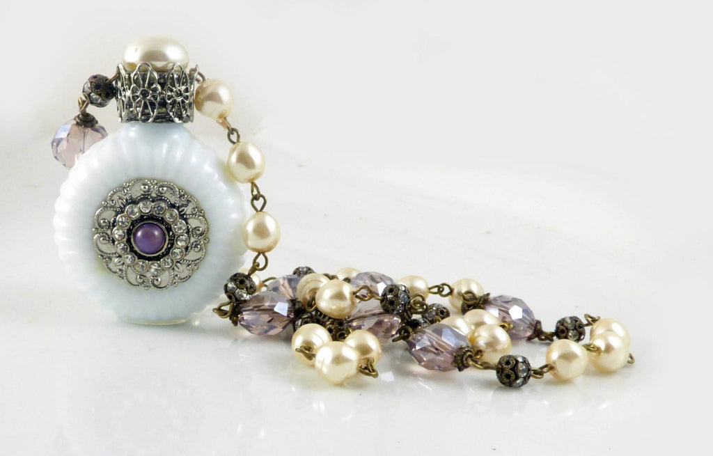 Vintage Czech Milk Glass Perfume Bottle Necklace, Baroque Pearl and Lavender Bead - Vintage Lane Jewelry