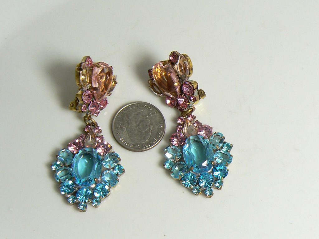 Aqua Blue and Pink Czech Glass Clip Earrings - Vintage Lane Jewelry