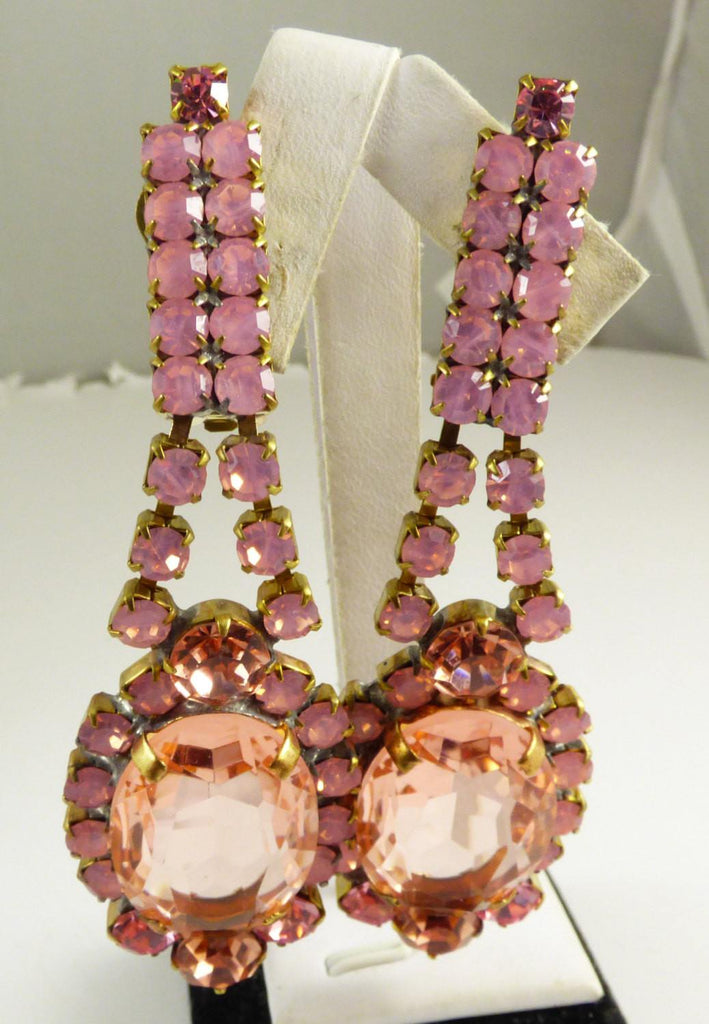 Pink Czech Glass Statement Necklace and Clip earrings - Vintage Lane Jewelry