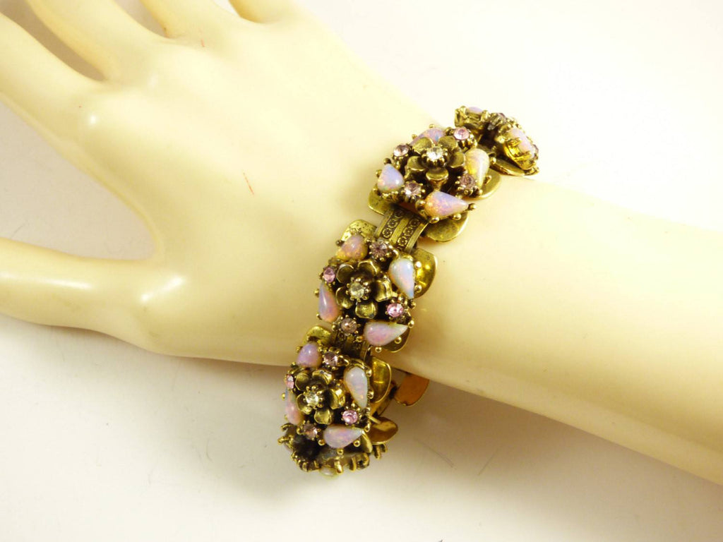 Pink Art Glass and Rhinestone wide book chain flower link bracelet - Vintage Lane Jewelry