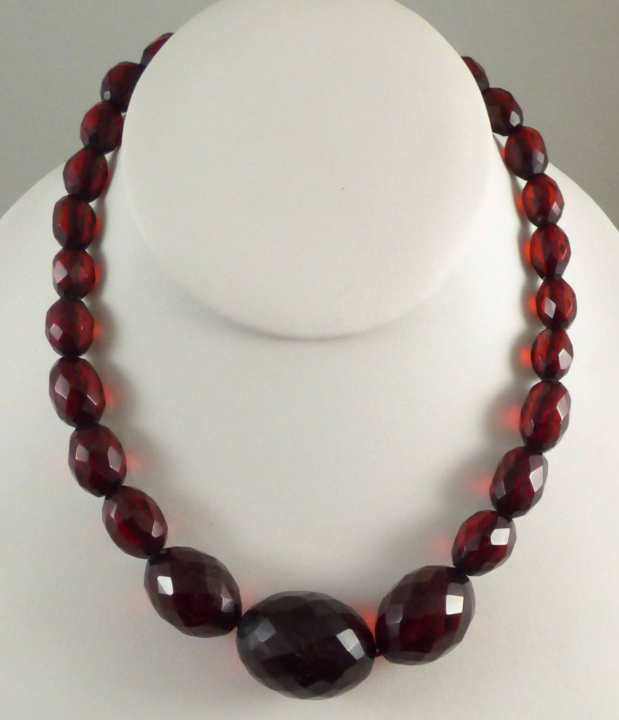 Cherry Bakelite Graduated Bead Necklace, Art Deco - Vintage Lane Jewelry