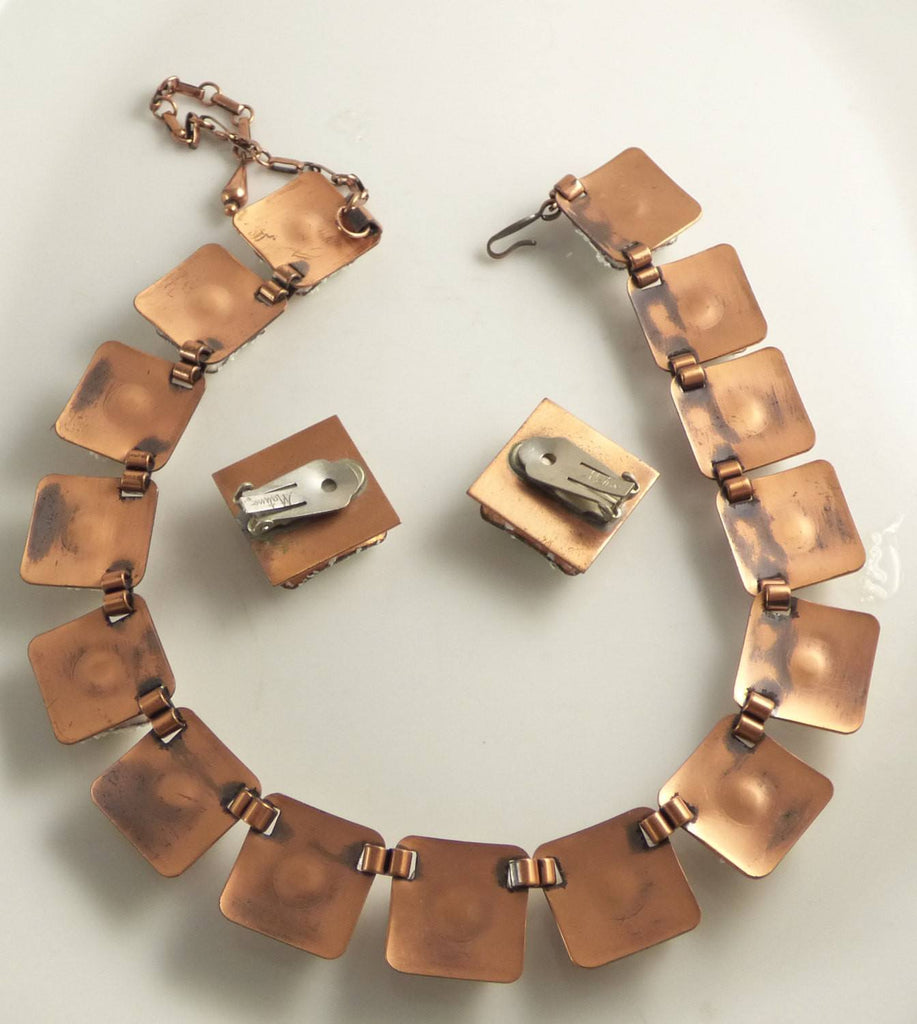 Matisse Copper Glass Mid Century Modernist Necklace Earring Set - Vintage Lane Jewelry