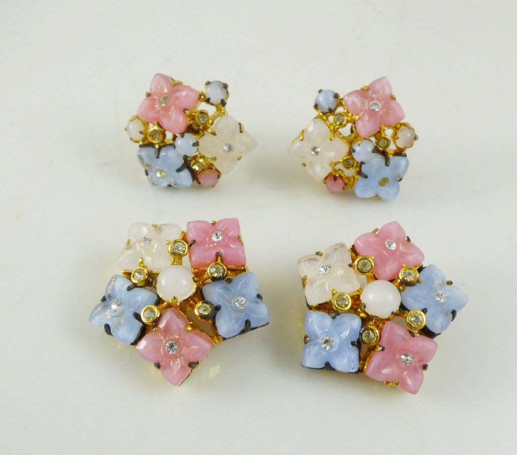 Vintage Czech Pastel Poured Glass Rhinestone Flower Parure - Vintage Lane Jewelry