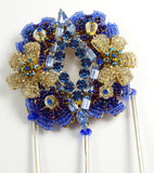 Stanley Hagler Blue Glass Bead and Rhinestone Hand Blown Glass Massive Pin Brooch - Vintage Lane Jewelry